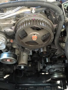 Engine with timing belts removed