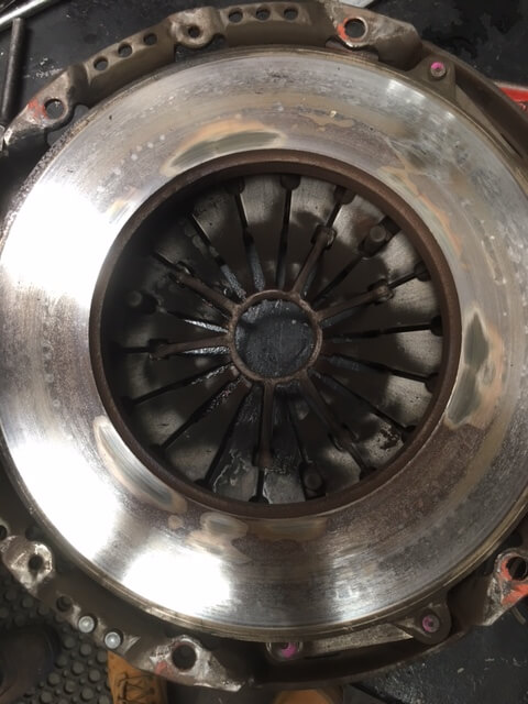 Ford GT Falcon clutch plate. Hot spots are clearly evident.