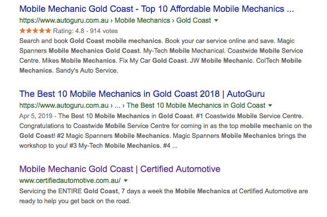 Google search results for 'Mobile mechanic Gold Coast'