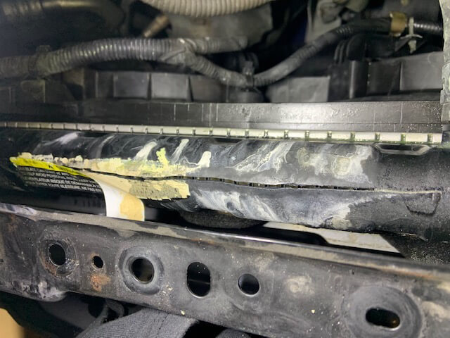 Cracked radiator tank