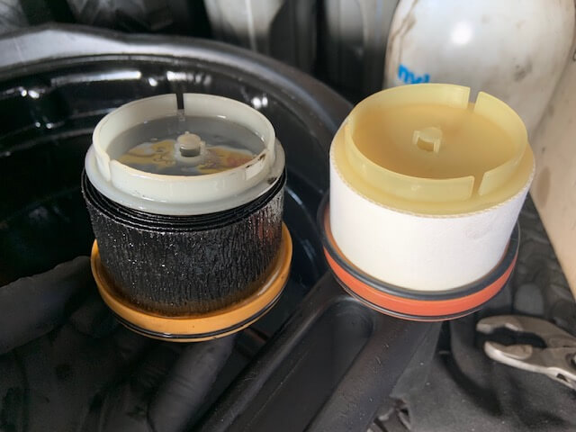 Toyota diesel fuel filter. Old vs New.